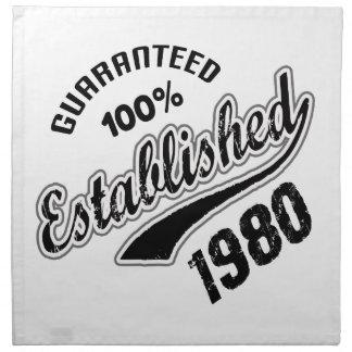 El 100% garantizado estableció el an o 80 servilleta