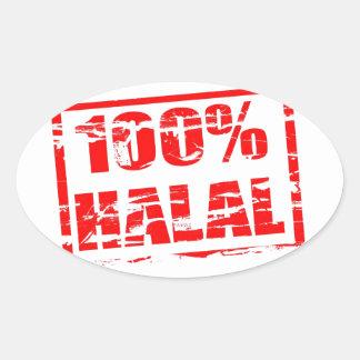 el 100% halal calcomanías óvales