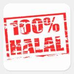 el 100% halal pegatina cuadrada