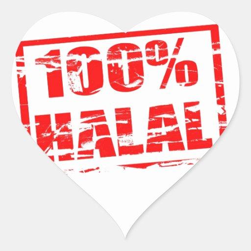 el 100% halal pegatina en forma de corazón
