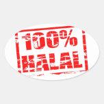 el 100% halal pegatina ovalada
