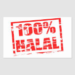 el 100% halal pegatina rectangular