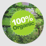 El 100% orgánico pegatinas redondas