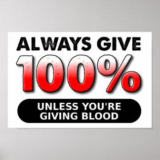 El 100 por ciento del poster divertido de la sangr