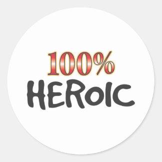 El 100 por ciento heroico pegatina redonda