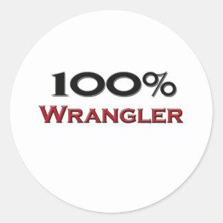 El 100 por ciento Wrangler Pegatina Redonda