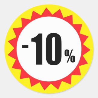 el 10 por ciento de la venta del descuento de pegatina redonda