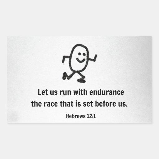 El 12:1 de los hebreos nos dejó correr con pegatina rectangular