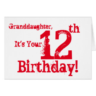El 12mo cumpleaños de la nieta en rojo y blanco tarjeta de felicitación