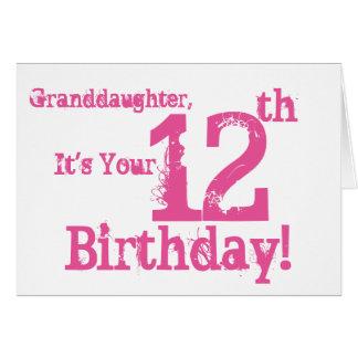 El 12mo cumpleaños de la nieta en rosa tarjeta de felicitación