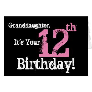 El 12mo cumpleaños de la nieta, negro, rosa, tarjeta de felicitación