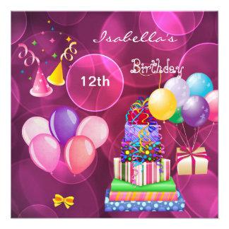 el 12mo décimotercero rosa de la fiesta de cumplea comunicado personalizado