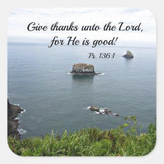 El 136:1 del salmo da gracias al señor… pegatina cuadrada