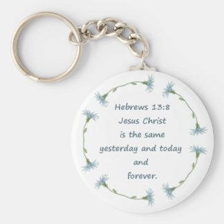El 13:8 Jesús de los hebreos es la misma escritura Llavero Redondo Tipo Pin