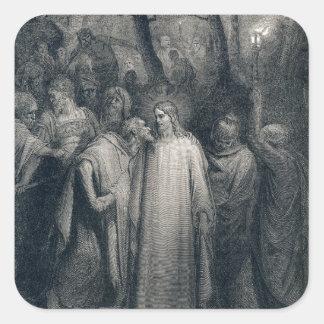 El 14:45 de la marca del beso de Judas de Gustave Pegatina Cuadrada