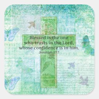 El 17:7 Blessed de Jeremiah es la cruz del verso Pegatina Cuadrada