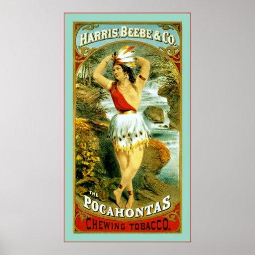 El ~ 1868 del tabaco de mascar de Pocahontas Poster