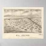 EL 1891 Reno, mapa panorámico ACEPTABLE de la opin Impresiones