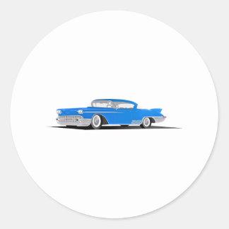 EL 1958 de Cadillac Dorado Pegatina Redonda