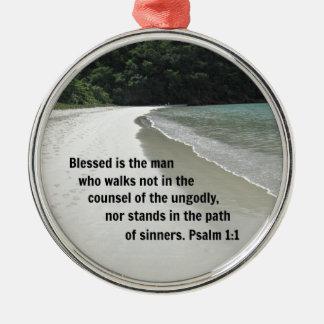 El 1:1 Blessed del salmo es el hombre… Adorno Navideño Redondo De Metal