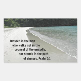 El 1:1 Blessed del salmo es el hombre… Pegatina Rectangular
