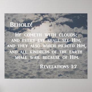 El 1:7 de la revelación Behold, él cometh con las Póster
