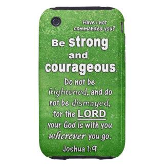 El 1:9 de Joshua sea verso fuerte y valeroso de la Tough iPhone 3 Fundas