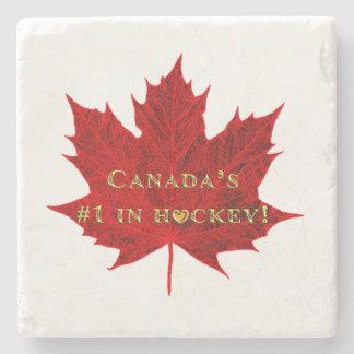 El #1 de Canadá en hoja de arce Hockey-Roja Posavasos De Piedra
