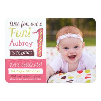 """El 1r cumpleaños brillante y rosado invita invitación 5"""" x 7"""""""