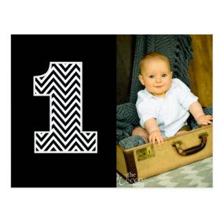 El 1r cumpleaños Chevron del bebé agradece la post Postal