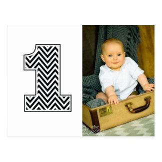 El 1r cumpleaños Chevron del bebé agradece la post Tarjeta Postal