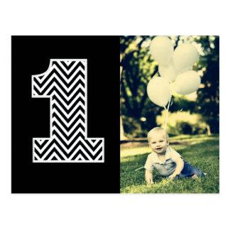 El 1r cumpleaños Chevron del bebé agradece la Postal