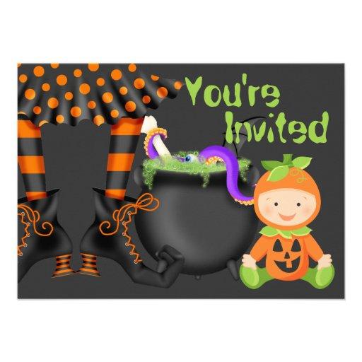 El 1r cumpleaños de Halloween del bebé lindo de la Invitacion Personalizada