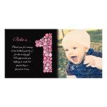 El 1r cumpleaños de las niñas le agradece tarjeta  tarjetas fotograficas