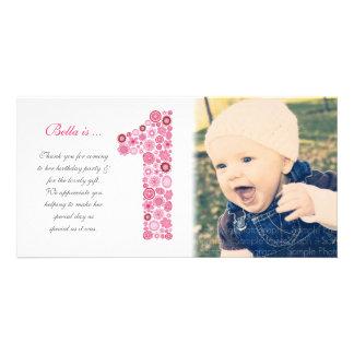 El 1r cumpleaños de las niñas le agradece tarjeta tarjetas fotograficas personalizadas