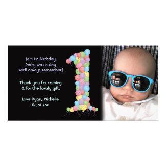 El 1r cumpleaños de los bebés le agradece tarjeta  tarjeta personal con foto