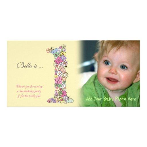 El 1r cumpleaños de los bebés le agradece tarjeta tarjetas con fotos personalizadas