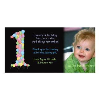 El 1r cumpleaños de los bebés le agradece tarjeta tarjetas fotograficas personalizadas