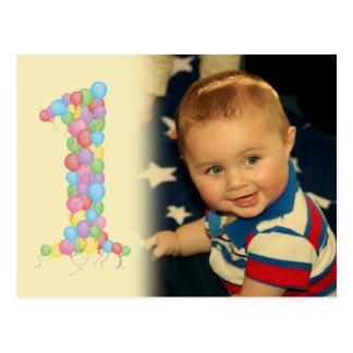 El 1r cumpleaños del bebé hincha la postal de la f