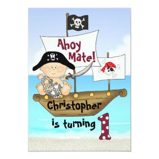 """El 1r cumpleaños del pequeño pirata lindo de invitación 5"""" x 7"""""""