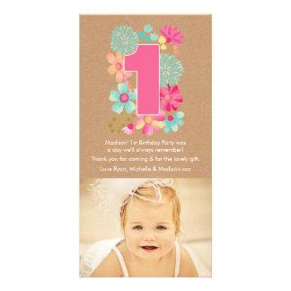 El 1r cumpleaños número 1 de los chicas le plantilla para tarjeta de foto