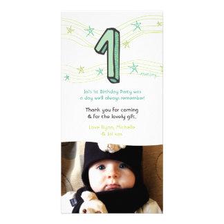 El 1r cumpleaños número 1 del bebé le agradece tar tarjeta fotográfica personalizada