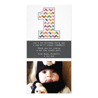 El 1r cumpleaños número 1 del bebé le agradece tarjetas personales