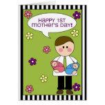 el 1r día de madre feliz (gemelos) tarjetón