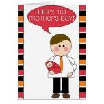 el 1r día de madre feliz (padre/niña) tarjeta