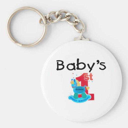 El 1r feliz cumpleaños del bebé llaveros personalizados