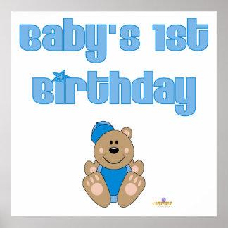 El 1r nacimiento de Brown del oso del bebé azul li Posters