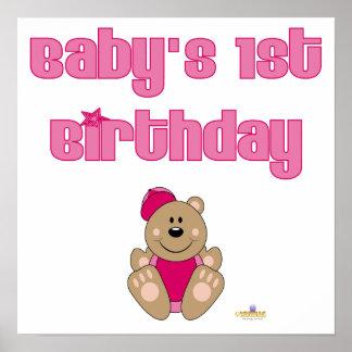 El 1r nacimiento de Brown del oso del rosa del beb Poster