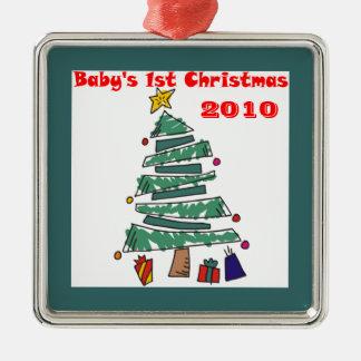 El 1r navidad 2010 del bebé adorno cuadrado plateado
