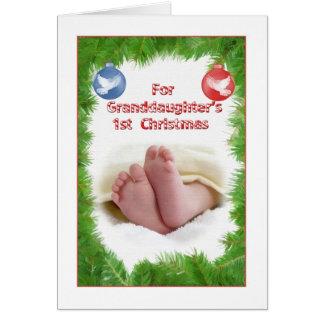 El 1r navidad de la nieta tarjeta de felicitación